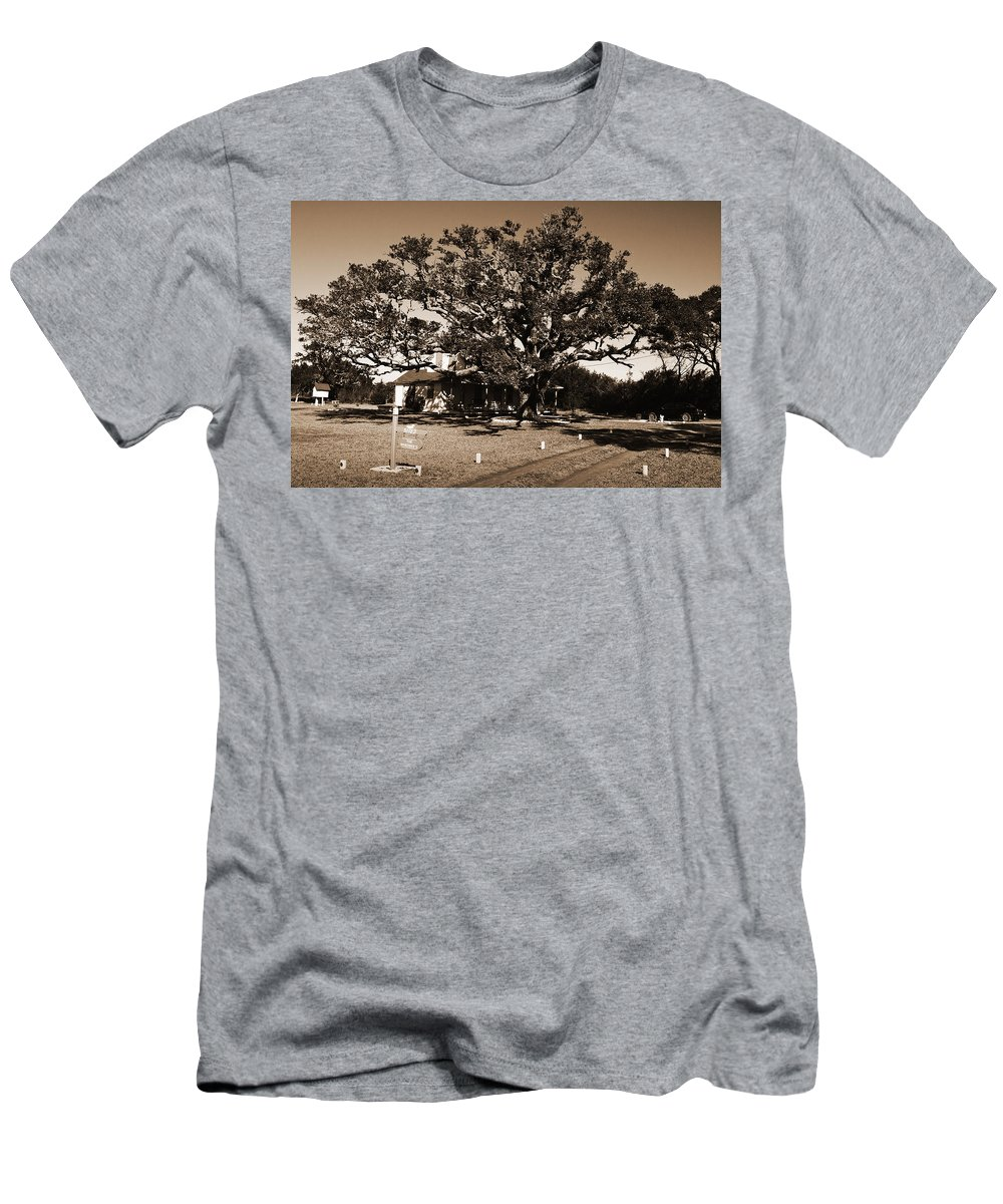 Live Oak Men's T-Shirt (Athletic Fit) featuring the photograph Live Oak Outer Banks by Greg Kluempers