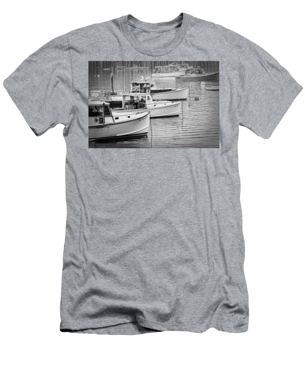 Maine Men's T-Shirt (Athletic Fit) featuring the photograph Lobster Boats In Bass Harbor And Bernard Maine by Keith Webber Jr