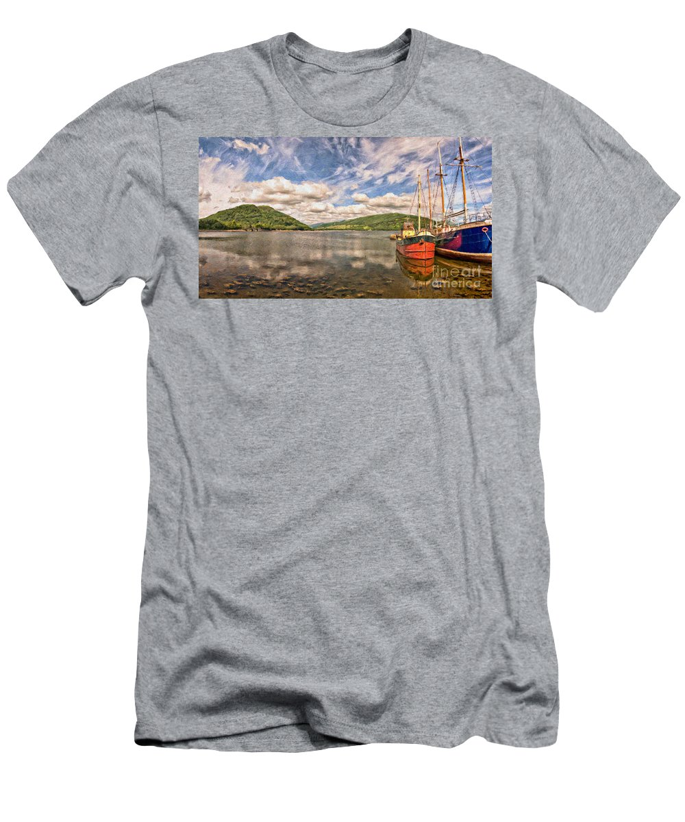 Vital Men's T-Shirt (Athletic Fit) featuring the painting Loch Fyne Digital Painting by Antony McAulay