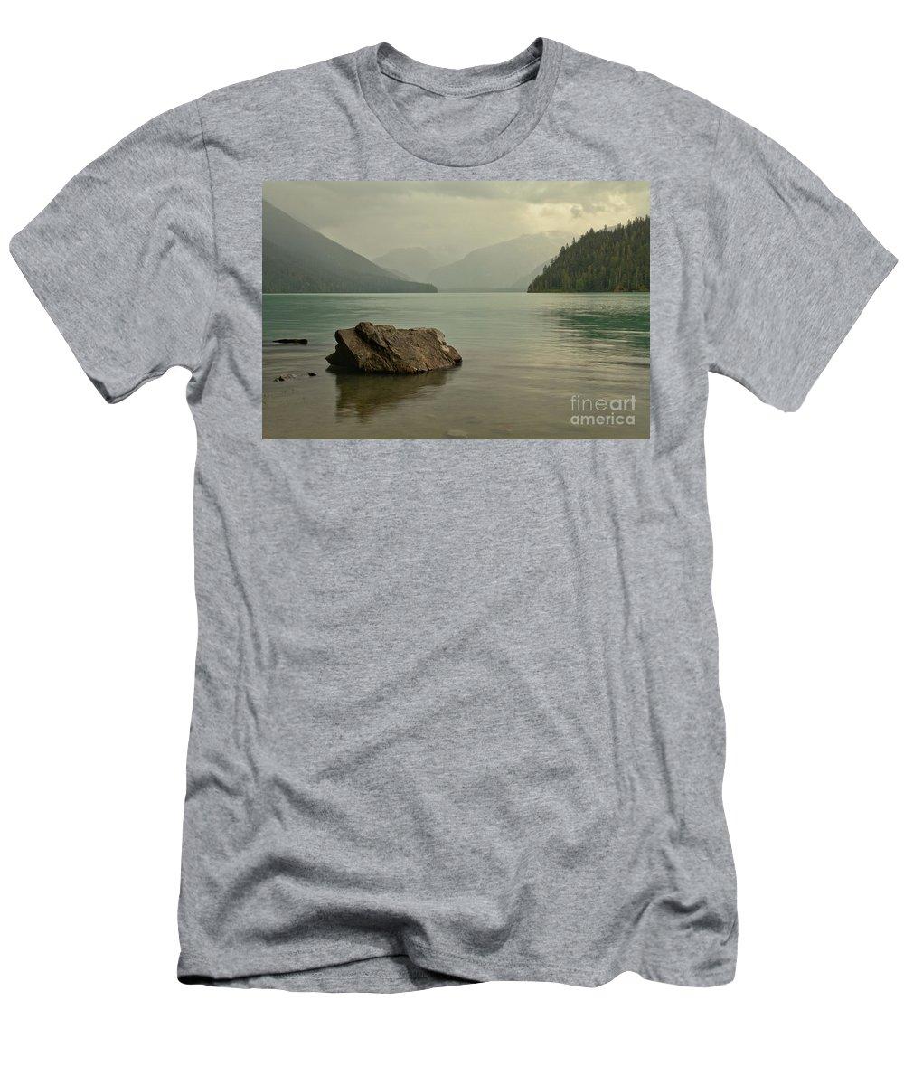 Cheakamus Lake Men's T-Shirt (Athletic Fit) featuring the photograph Lone Rock In Cheakamus Lake by Adam Jewell