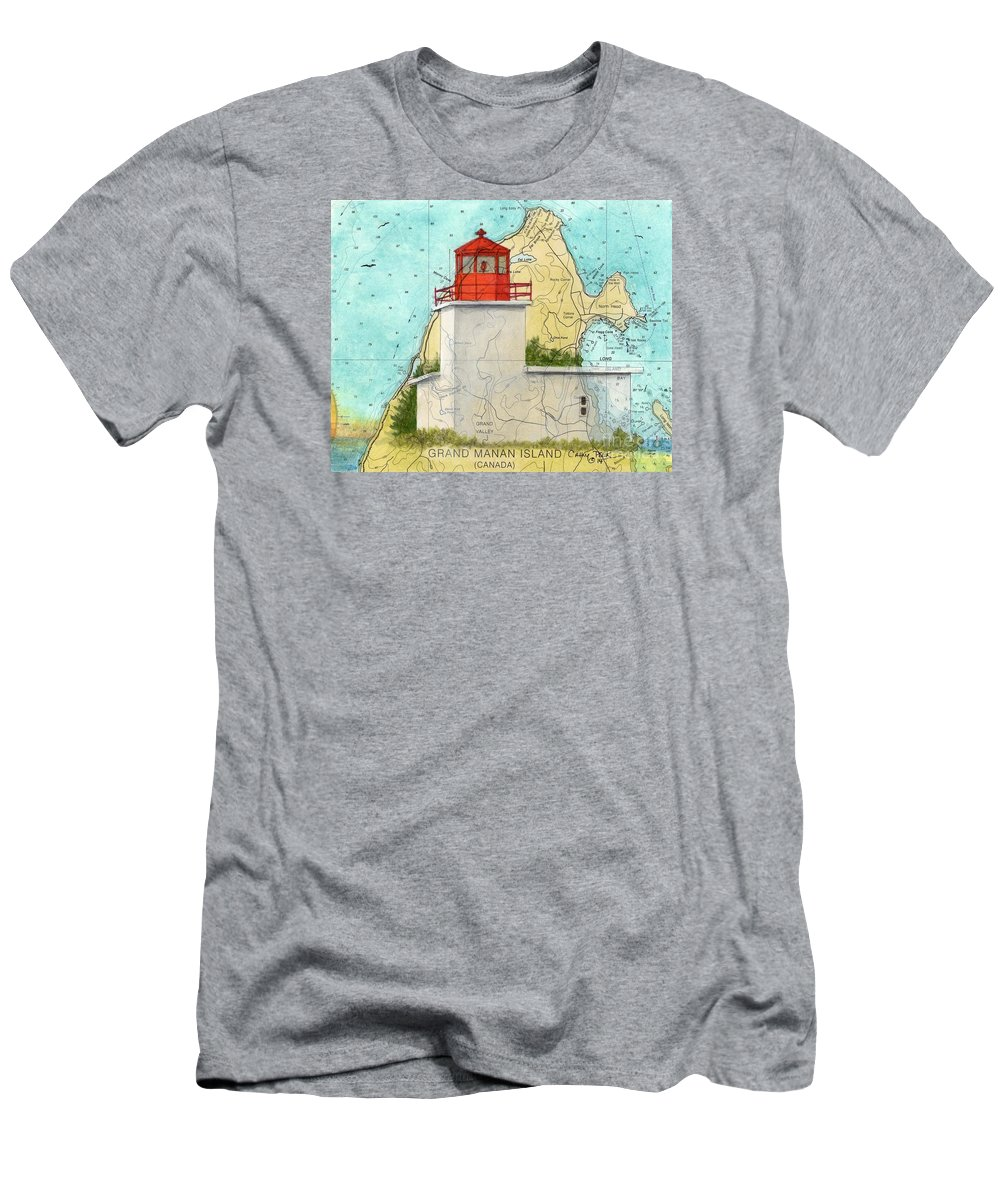 Long Men's T-Shirt (Athletic Fit) featuring the painting Long Eddy Pt Lighthouse Nb Canada Chart Art Peek by Cathy Peek