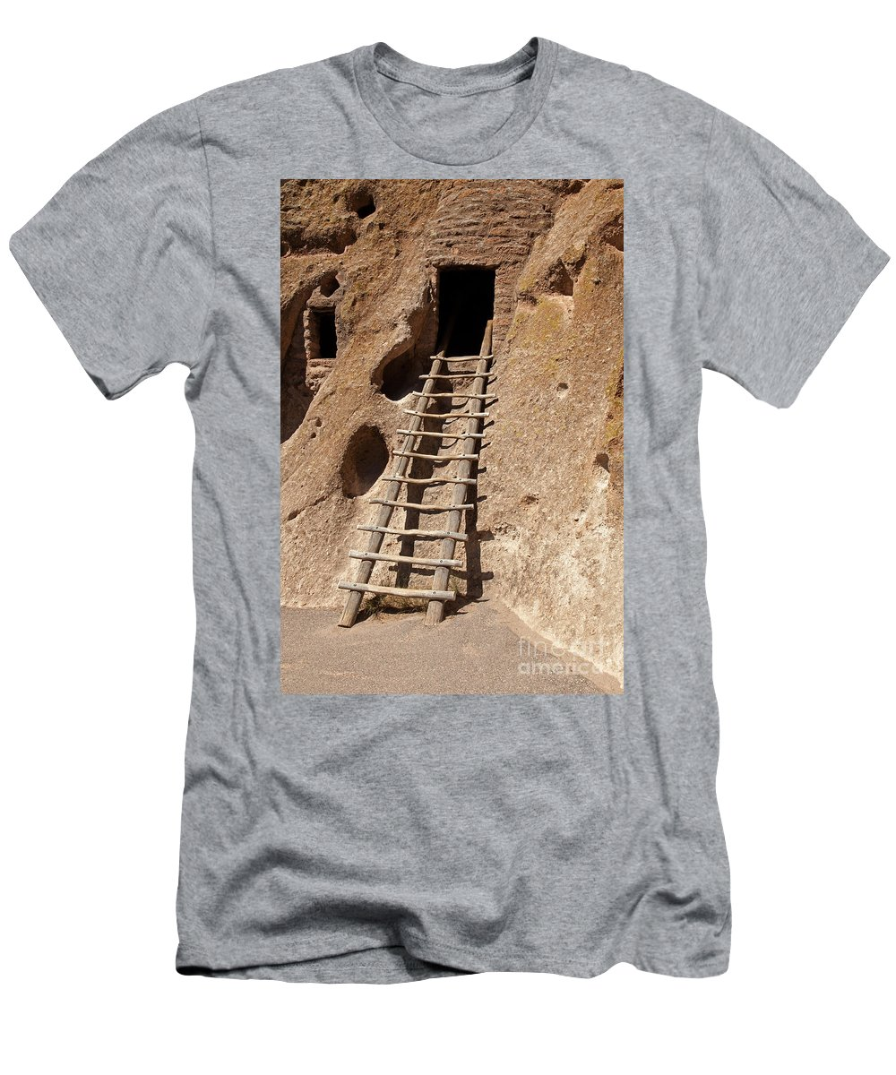 Afternoon Men's T-Shirt (Athletic Fit) featuring the photograph Long House Front Door Bandelier National Monument by Fred Stearns