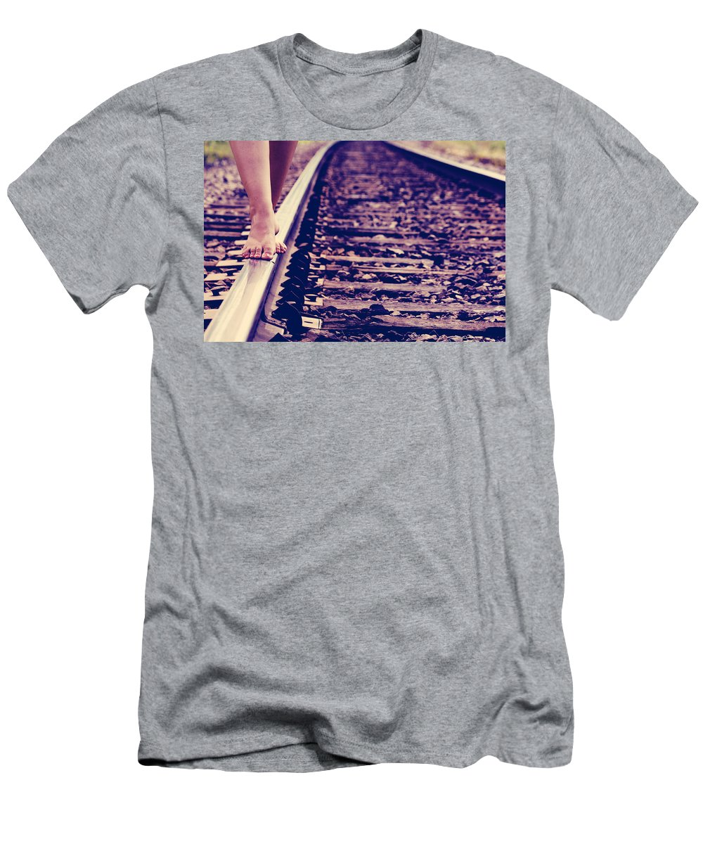 Train Tracks Men's T-Shirt (Athletic Fit) featuring the photograph Long Tracks by The Artist Project