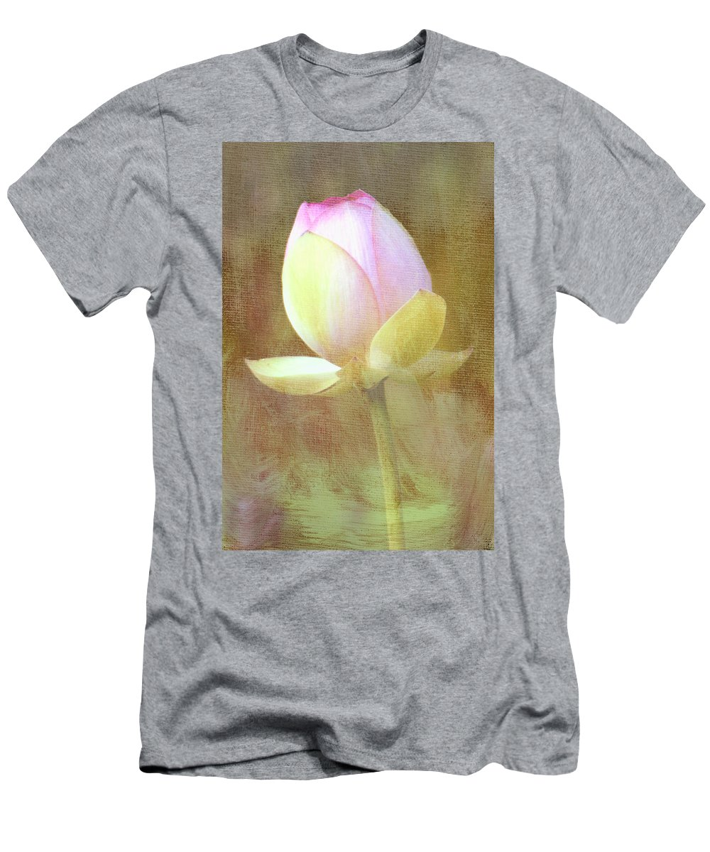Lotus Men's T-Shirt (Athletic Fit) featuring the photograph Lotus Looking To Bloom by Sharon M Connolly