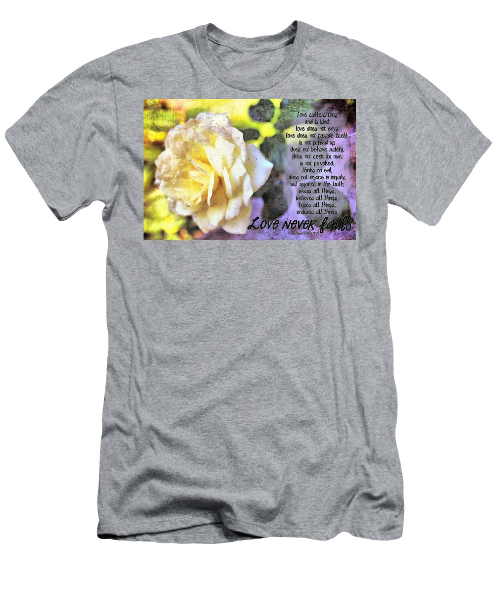 Jesus Men's T-Shirt (Athletic Fit) featuring the digital art Love Never Fails by Michelle Greene Wheeler