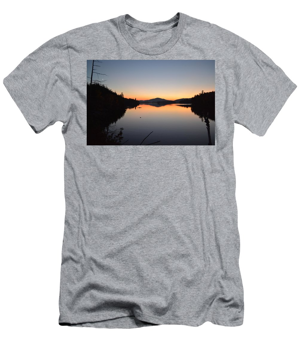 Sunset Men's T-Shirt (Athletic Fit) featuring the photograph Lower Saranac Lake by Thomas Phillips