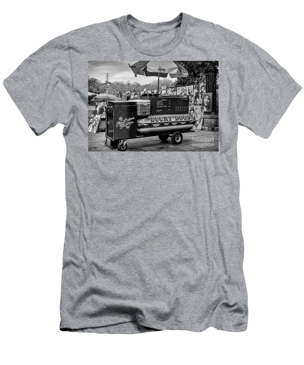 French Quarter Men's T-Shirt (Athletic Fit) featuring the photograph Lucky Dogs In Jackson Square Nola Bw by Kathleen K Parker