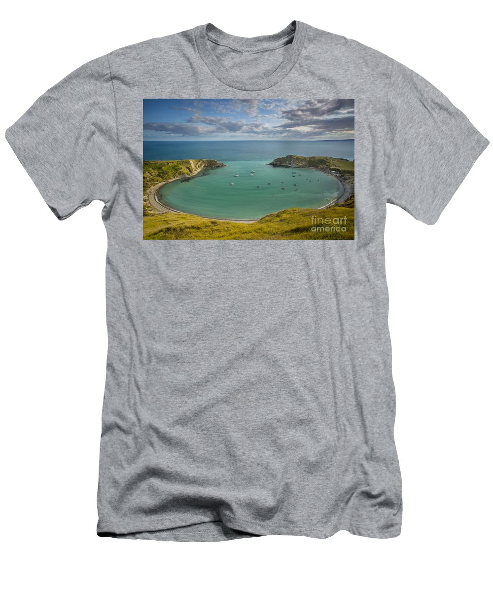 Bay Men's T-Shirt (Athletic Fit) featuring the photograph Lulworth Cove Evening by Brian Jannsen