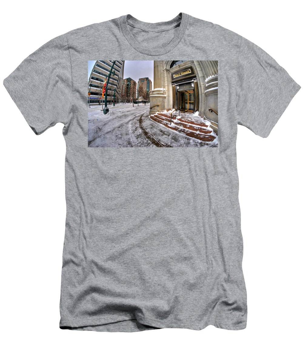 M&t Bank Men's T-Shirt (Athletic Fit) featuring the photograph M And T Bank Downtown Buffalo Ny 2014 by Michael Frank Jr