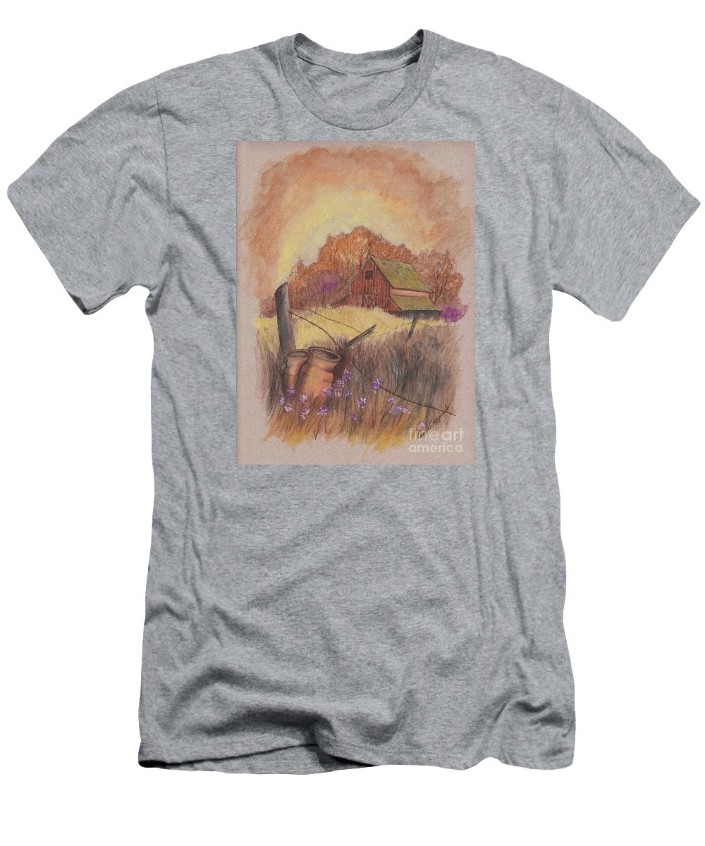 Pastel Drawing Men's T-Shirt (Athletic Fit) featuring the drawing Macgregors Barn Pstl by Carol Wisniewski