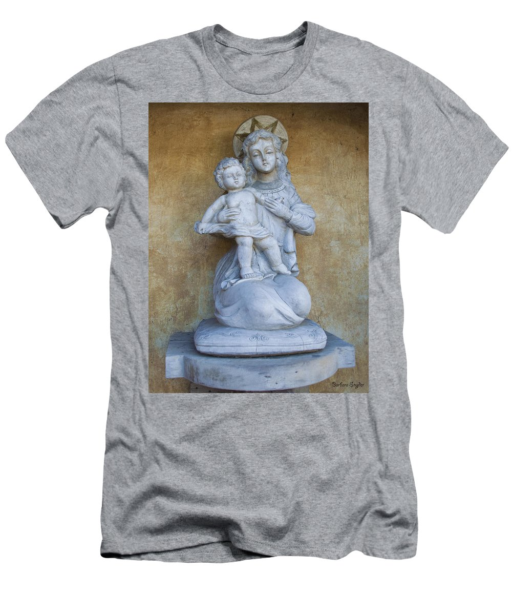 Barbara Snyder Men's T-Shirt (Athletic Fit) featuring the digital art Madonna And Child Carmel Mission Monterey California by Barbara Snyder