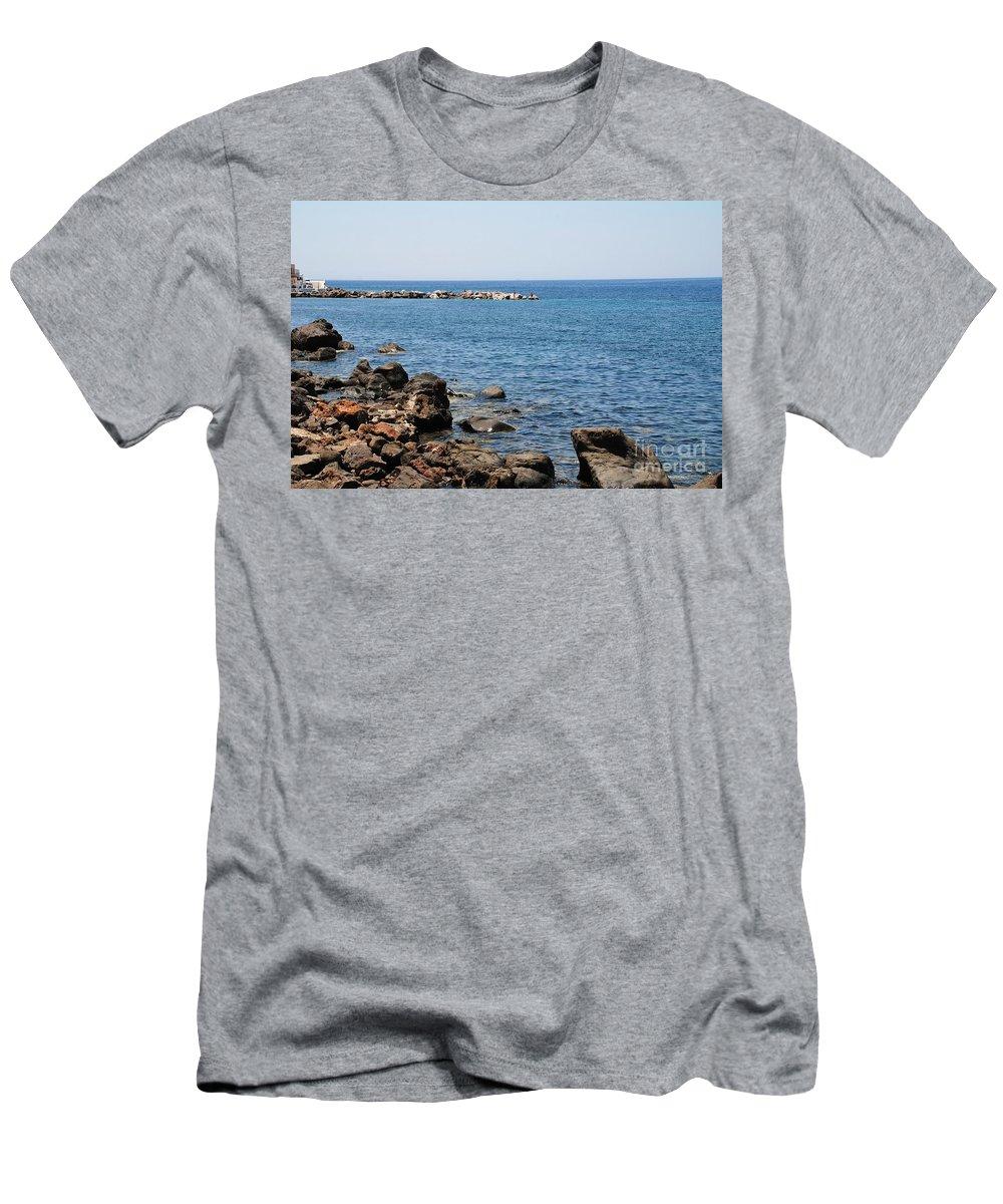 Nisyros Men's T-Shirt (Athletic Fit) featuring the photograph Mandraki Coastline Nisyros by David Fowler