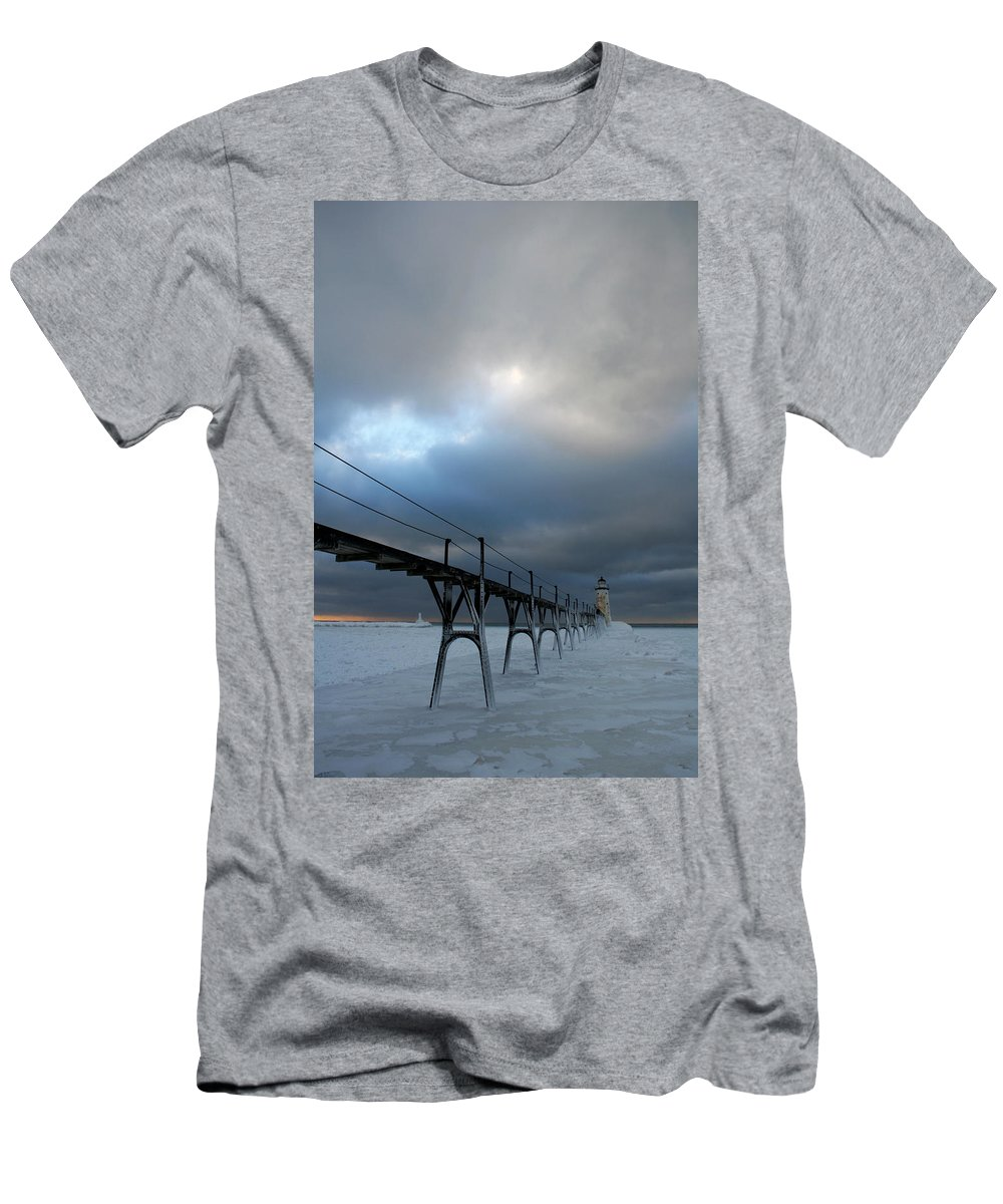 Manistee Men's T-Shirt (Athletic Fit) featuring the photograph Manistee Lighthouse 7 by Allan Lovell