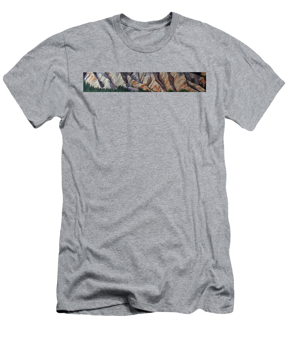 Mountains Men's T-Shirt (Athletic Fit) featuring the painting Marble Ridge by Elaine Booth-Kallweit