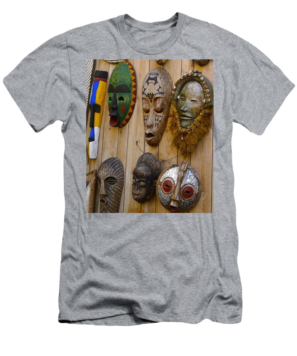 Mask Men's T-Shirt (Athletic Fit) featuring the photograph Masks by Denise Mazzocco
