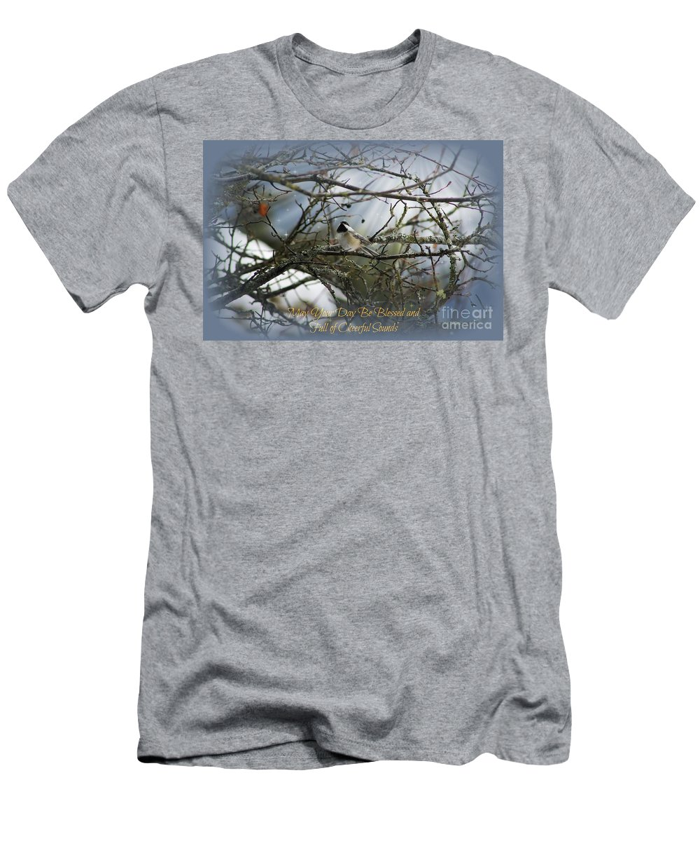 Chickadee Men's T-Shirt (Athletic Fit) featuring the photograph May Your Day Be Blessed by Leone Lund