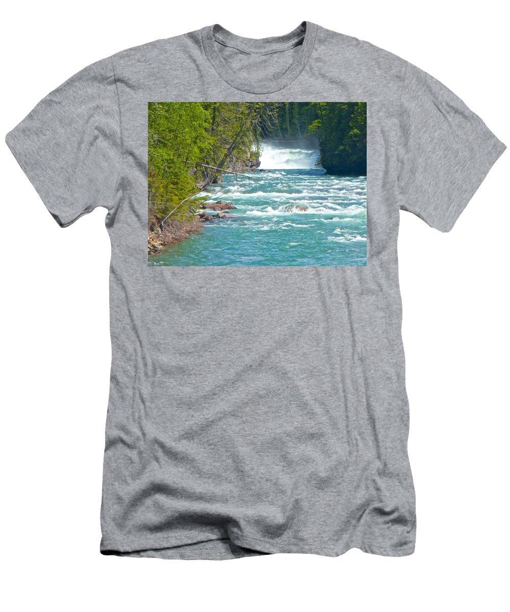 Mcdonald Creek Falls Men's T-Shirt (Athletic Fit) featuring the photograph Mcdonald Creek Falls In Glacier Np-mt by Ruth Hager
