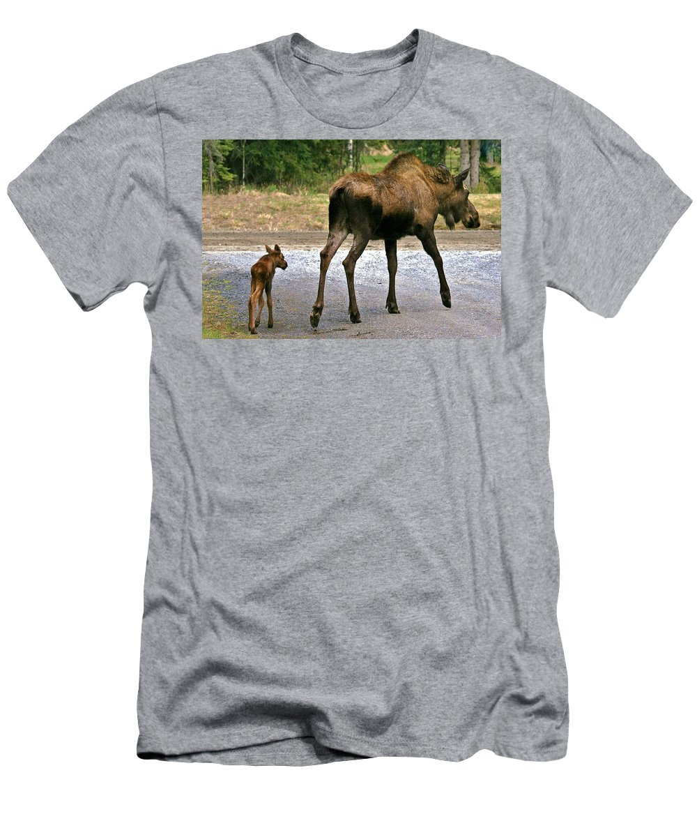 Moose Men's T-Shirt (Athletic Fit) featuring the photograph Me And Mom by Karen Jones