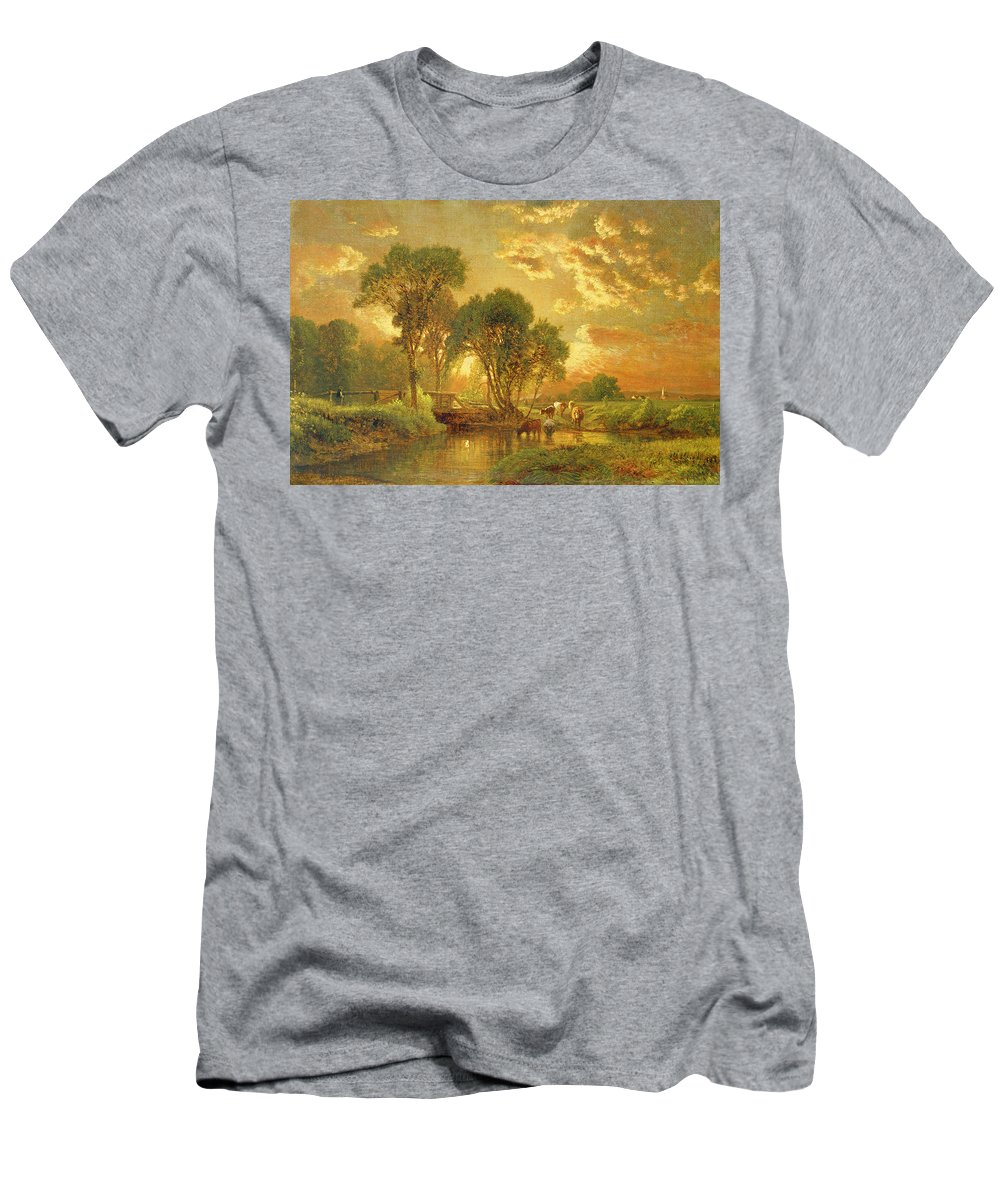 Inness T-Shirt featuring the painting Medfield Massachusetts by Inness