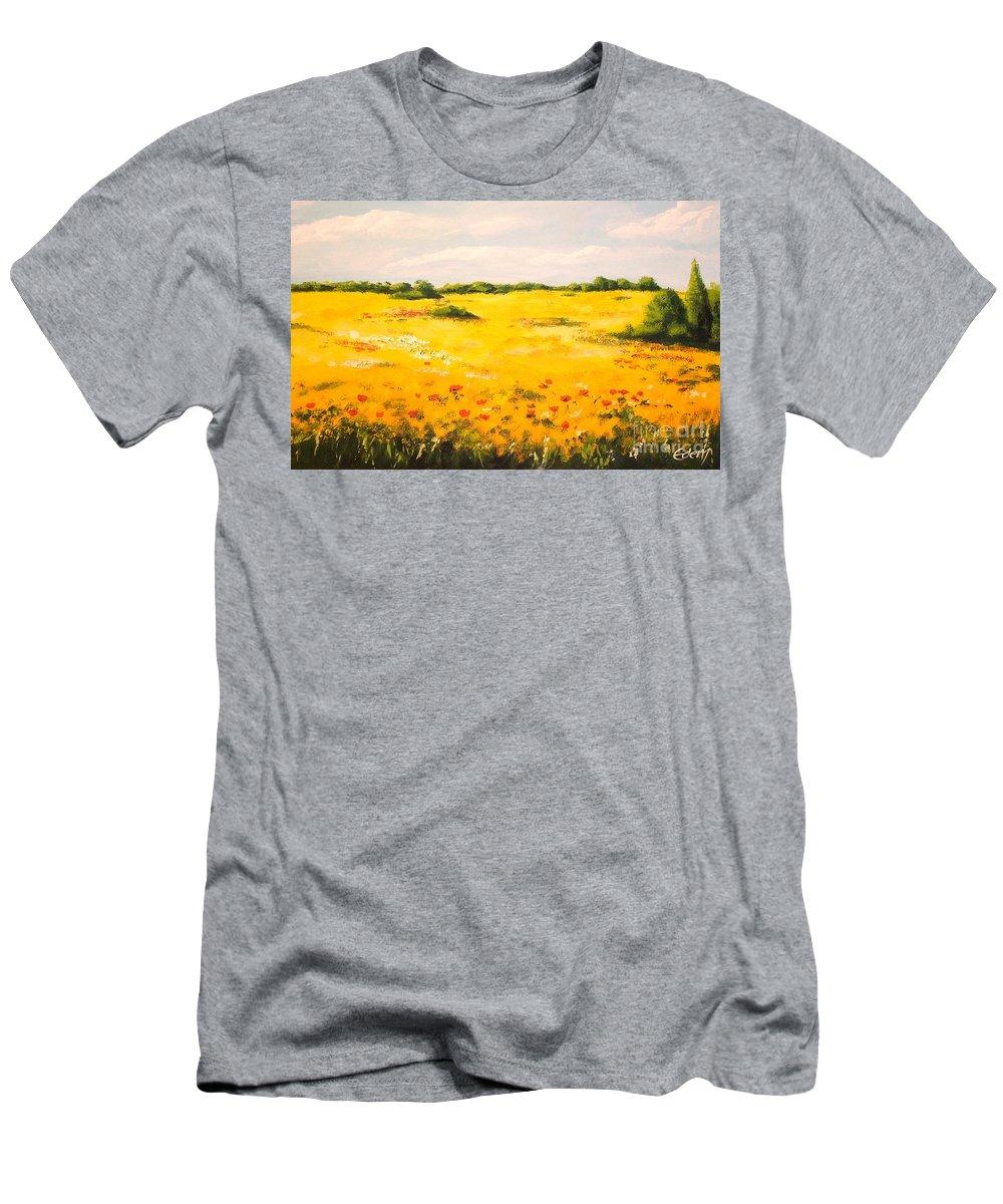 Landscape Men's T-Shirt (Athletic Fit) featuring the painting Mediterranean Landscape by Voros Edit