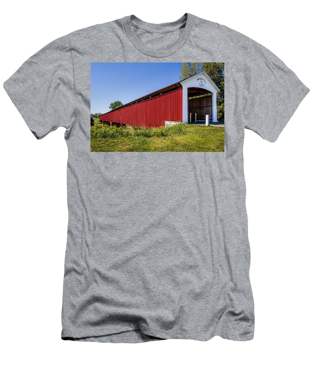 Indiana Men's T-Shirt (Athletic Fit) featuring the photograph Medora Covered Bridge by Ron Pate