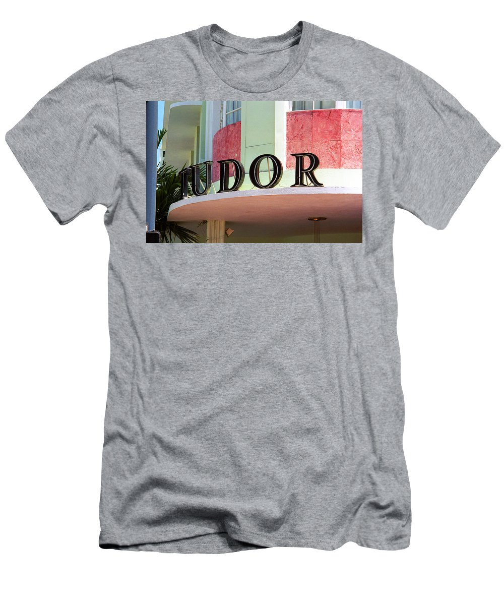 Architecture Men's T-Shirt (Athletic Fit) featuring the photograph Miami Beach - Art Deco 11 by Frank Romeo