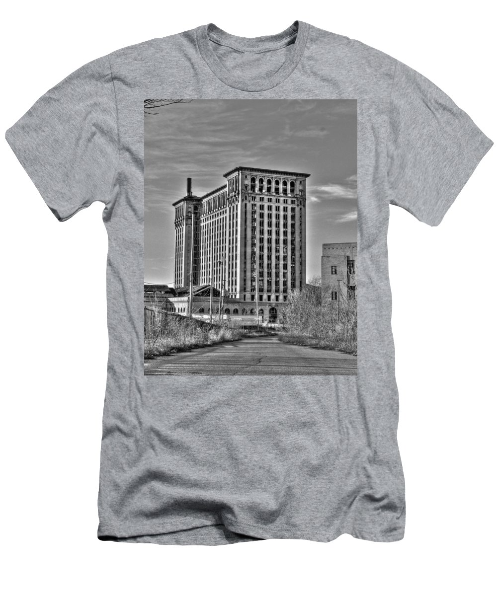 Michigan Central T-Shirt featuring the photograph Michigan Central Station by Nicholas Grunas