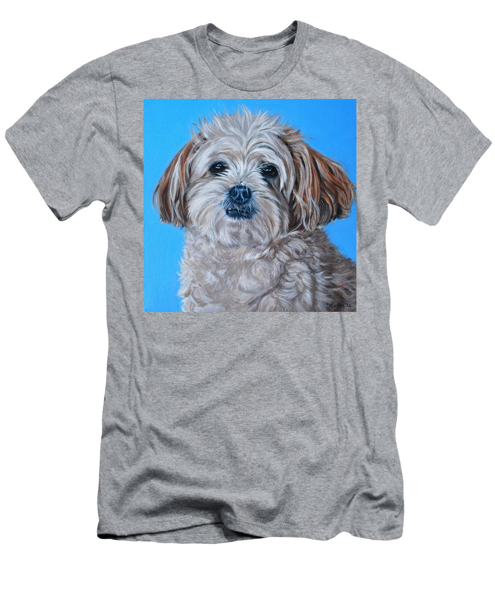 Maltese X Shihtzu Painting Men's T-Shirt (Athletic Fit) featuring the painting Micky by Deborah Cullen