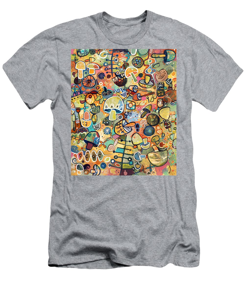 Jen Norton Men's T-Shirt (Athletic Fit) featuring the painting Mid Century Mushroom Madness by Jen Norton