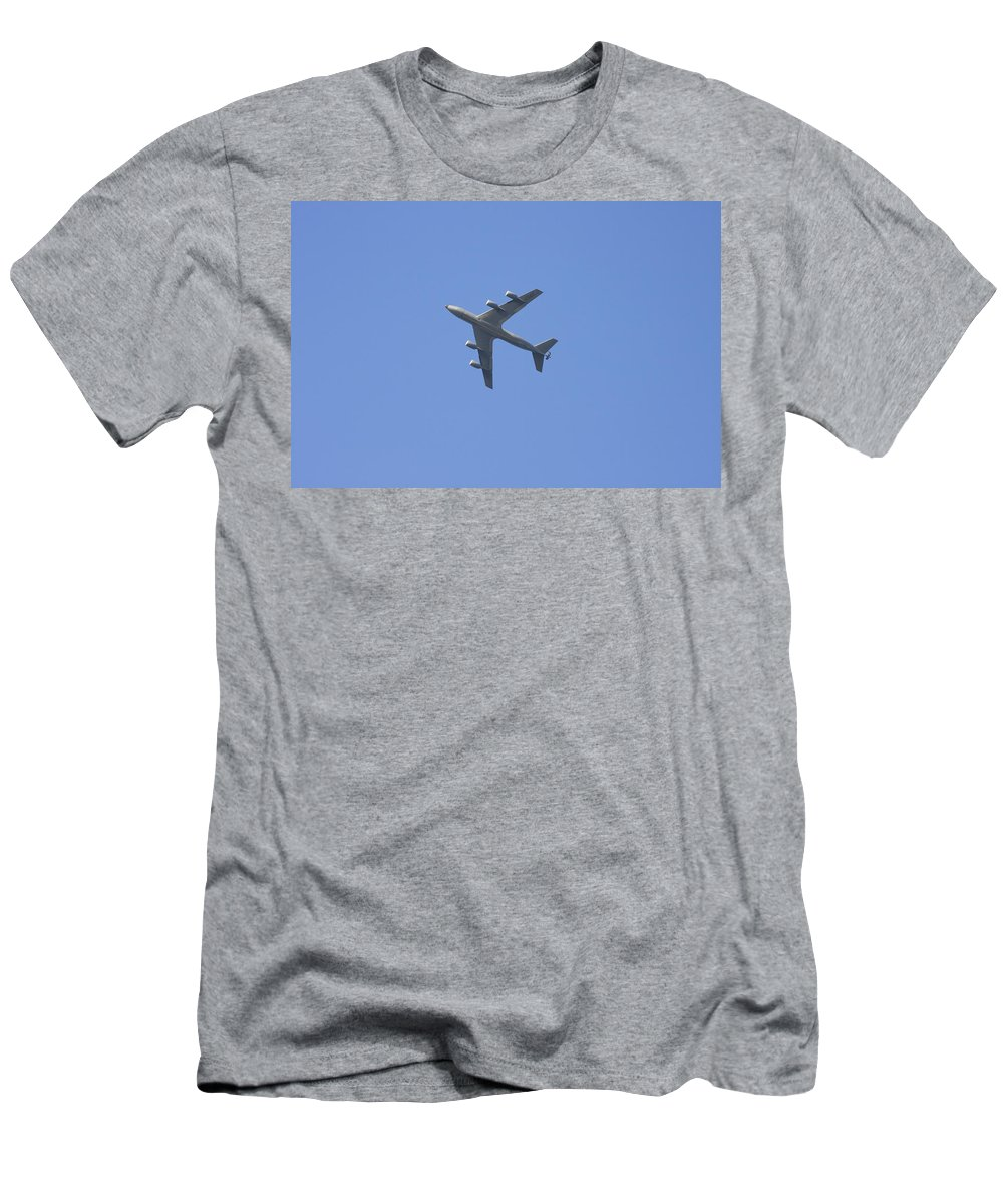 Military Men's T-Shirt (Athletic Fit) featuring the photograph Military Tanker Airplane Flying In Blue Sky by Keith Webber Jr