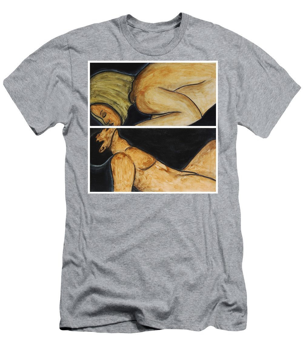 Millimeters Men's T-Shirt (Athletic Fit) featuring the painting Millimeters For Being Kissed by Gina Dsgn