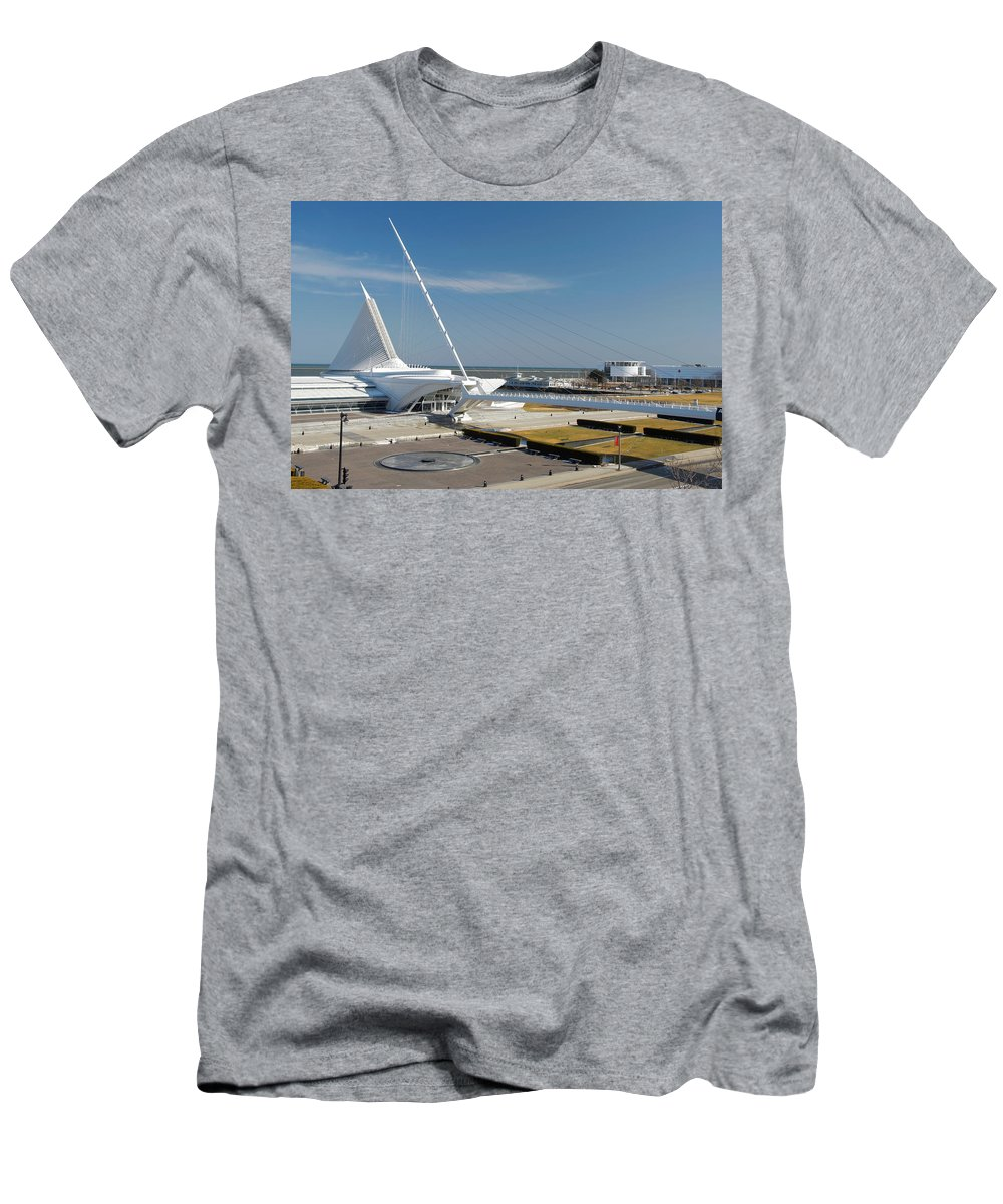 Santiago Calatrava Men's T-Shirt (Athletic Fit) featuring the photograph Milwaukee Art Museum by Jonah Anderson
