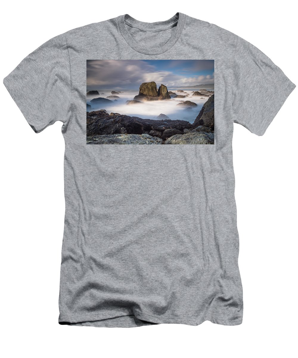 Seascape Men's T-Shirt (Athletic Fit) featuring the photograph Mists Of The Sea by Greg Nyquist
