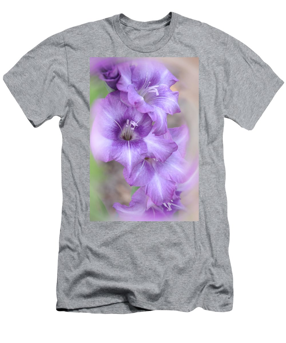 Gladiolus Men's T-Shirt (Athletic Fit) featuring the photograph Misty Gladiolas by Deborah Good