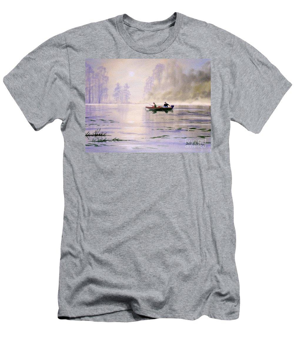 Banks Lake Men's T-Shirt (Athletic Fit) featuring the painting Misty Sunrise On The Lake by Bill Holkham
