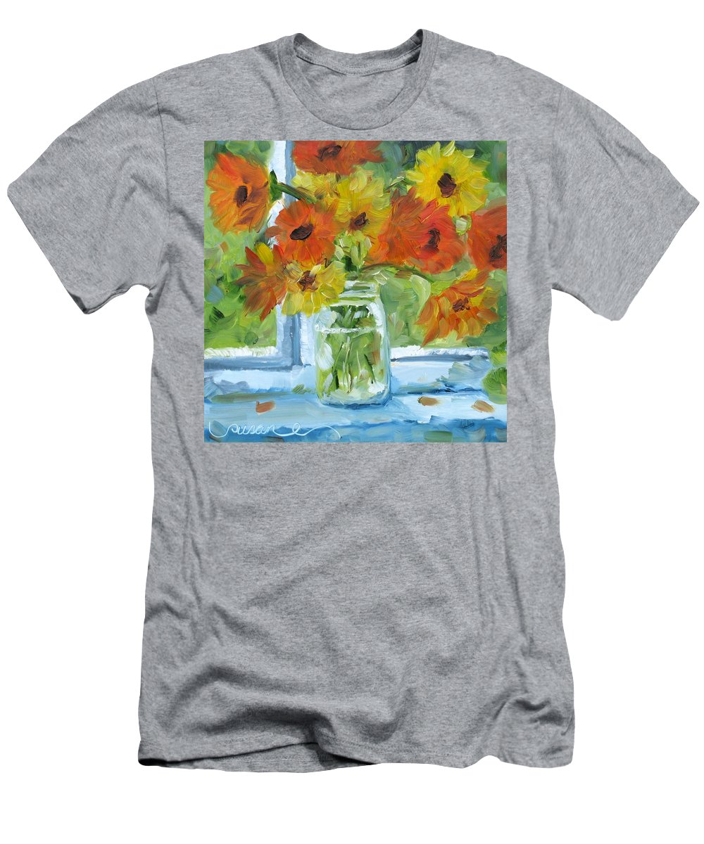Floral Men's T-Shirt (Athletic Fit) featuring the painting Mommas Cosmos by Susan Elizabeth Jones