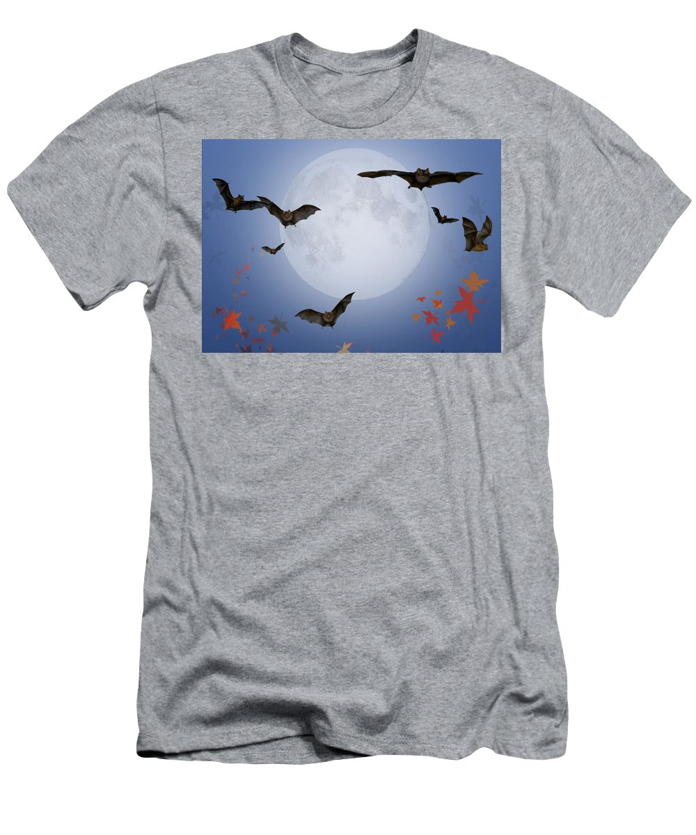 Halloween Men's T-Shirt (Athletic Fit) featuring the digital art Moon And Bats by Melissa A Benson