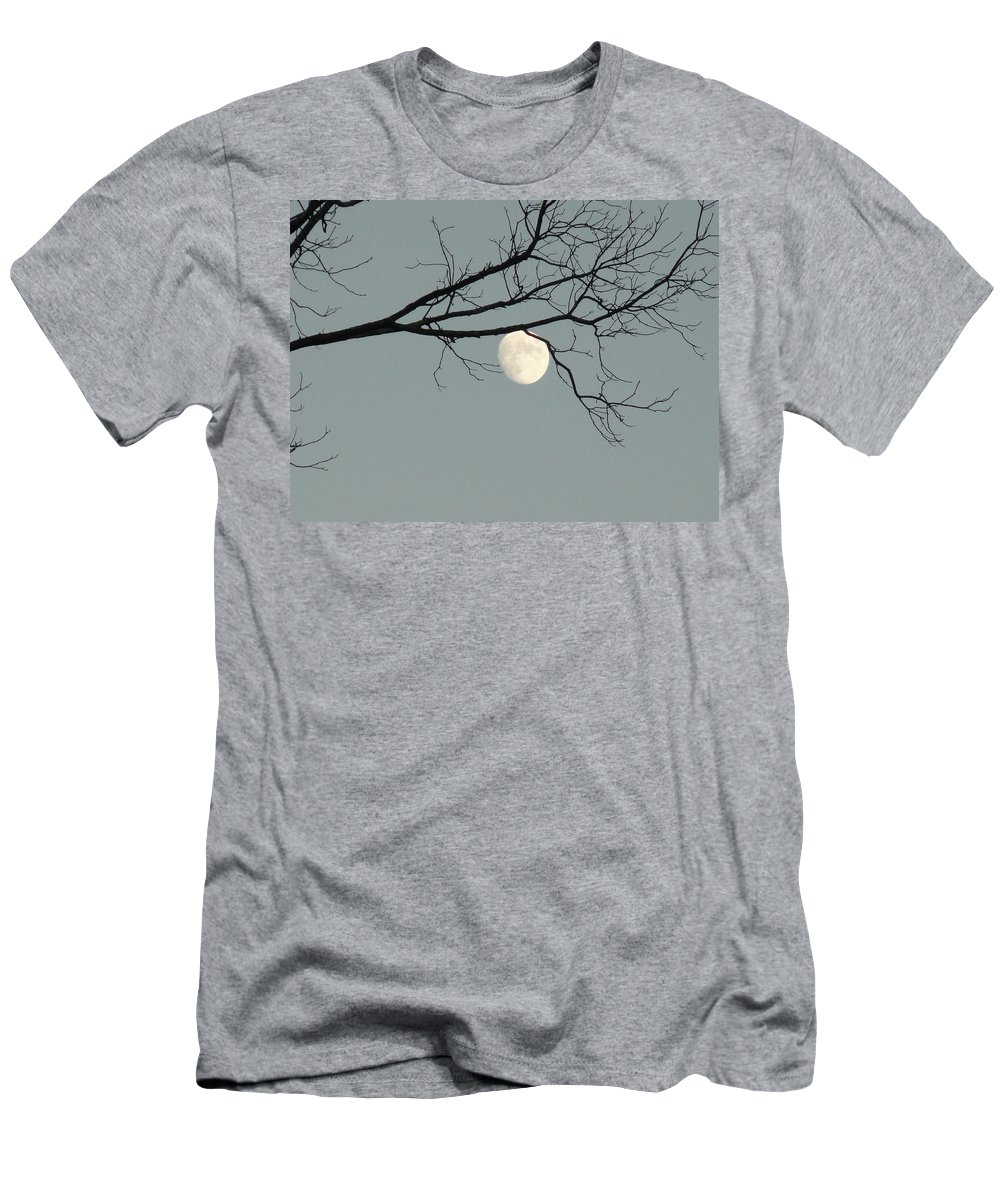 Sky Men's T-Shirt (Athletic Fit) featuring the photograph Moon Peaking Thru At 5pm by Stephanie Irvin
