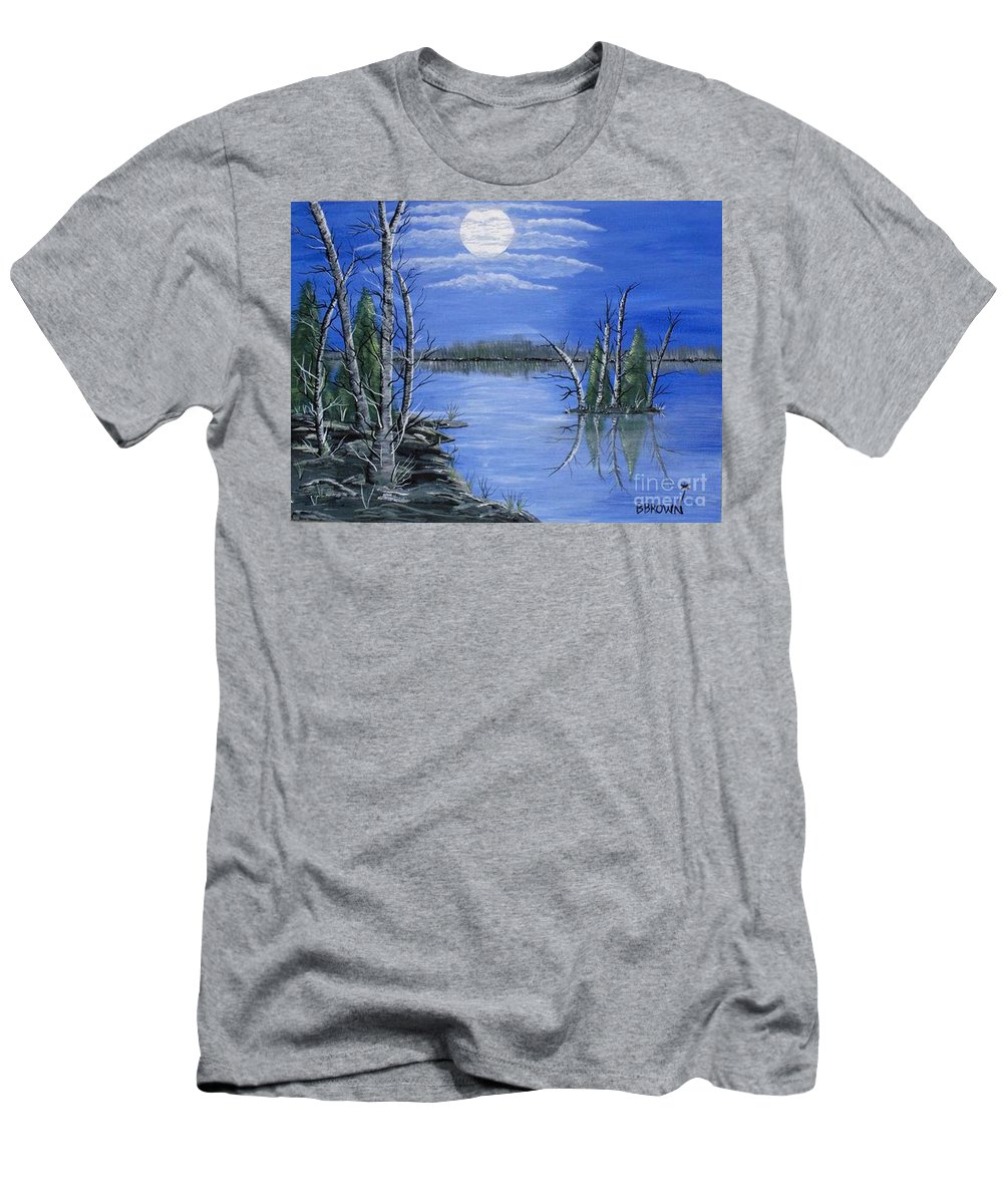 Landscape Men's T-Shirt (Athletic Fit) featuring the painting Moonlight Mist by Brenda Brown
