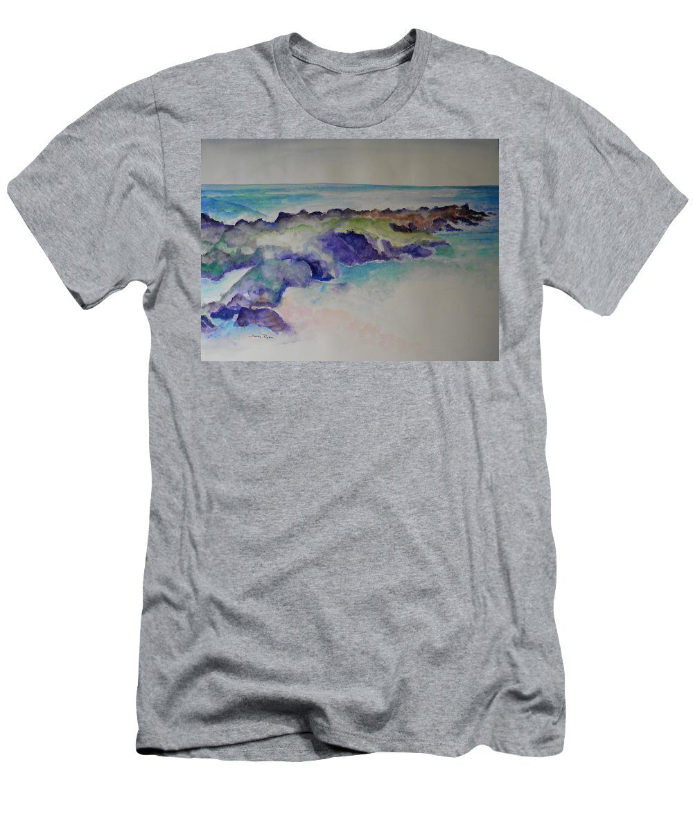 Beach Men's T-Shirt (Athletic Fit) featuring the painting Morning Surf by Sandy Ryan