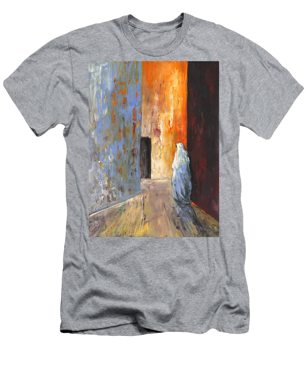 Travel Men's T-Shirt (Athletic Fit) featuring the painting Moroccan Woman 02 by Miki De Goodaboom