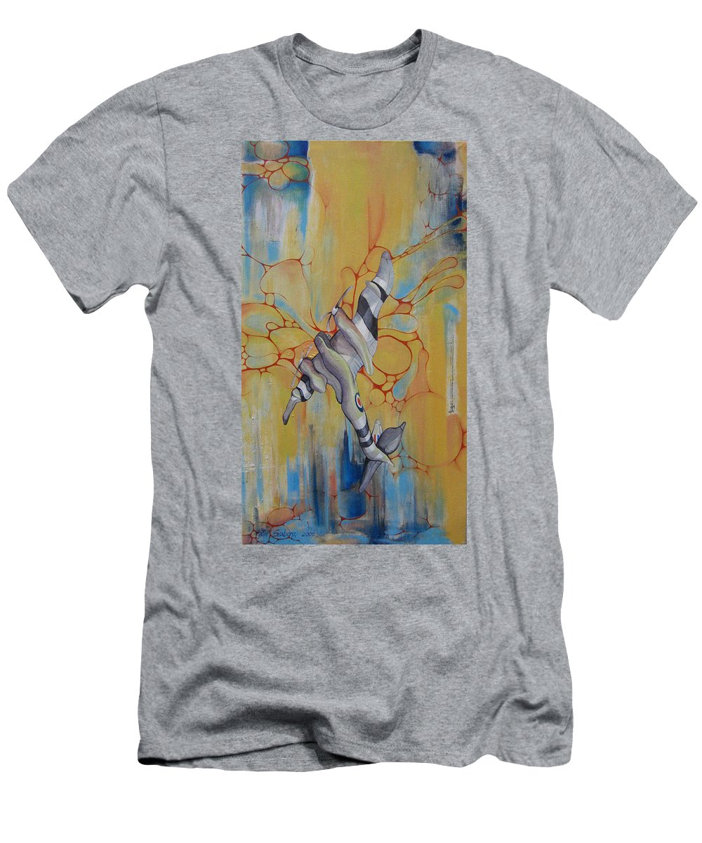 Airplane Men's T-Shirt (Athletic Fit) featuring the painting Mosquito Madness by Jeff Seaberg