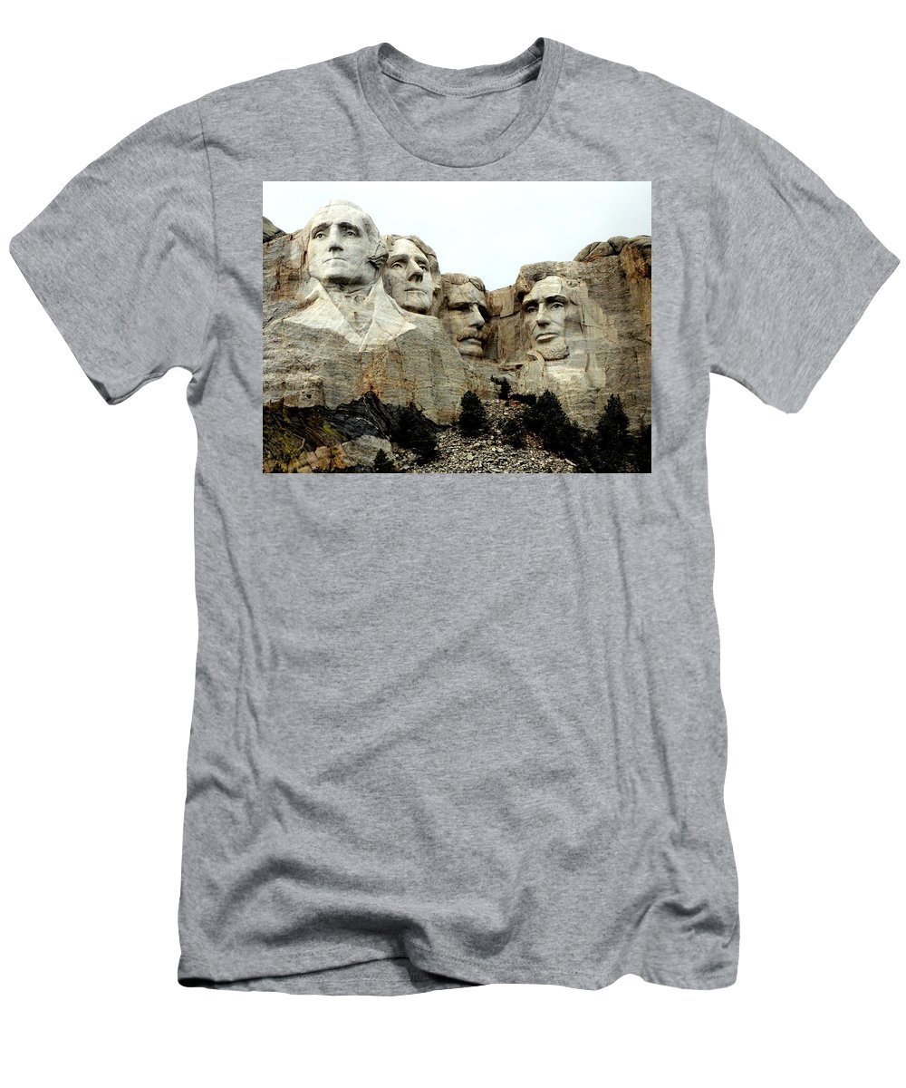 Mt Rushmore Men's T-Shirt (Athletic Fit) featuring the photograph Mount Rushmore Presidents by Clarice Lakota