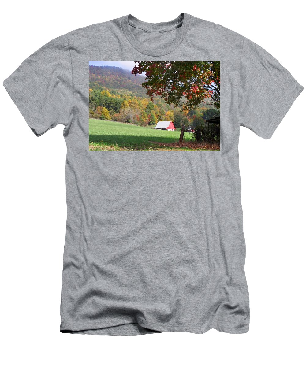 Landscapes. Printscapes Men's T-Shirt (Athletic Fit) featuring the photograph Mountain Barn by Duane McCullough