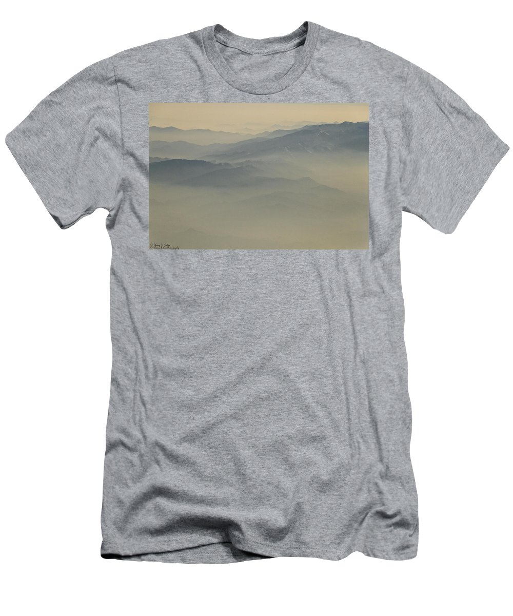 Mountains Men's T-Shirt (Athletic Fit) featuring the photograph Mountain Glory In Blue by Hany J