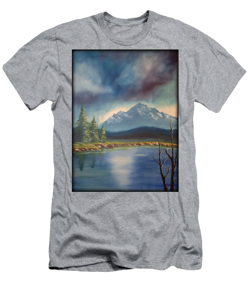Lake Men's T-Shirt (Athletic Fit) featuring the painting Mountain Lake by Daniel Jakus