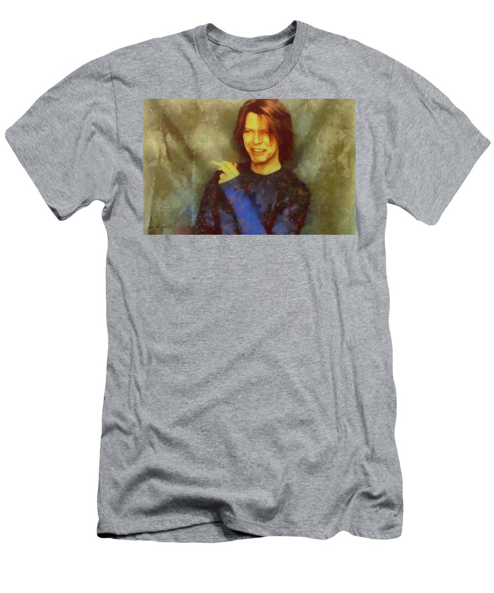 David Bowie Men's T-Shirt (Athletic Fit) featuring the painting Mr Bowie by Janice MacLellan