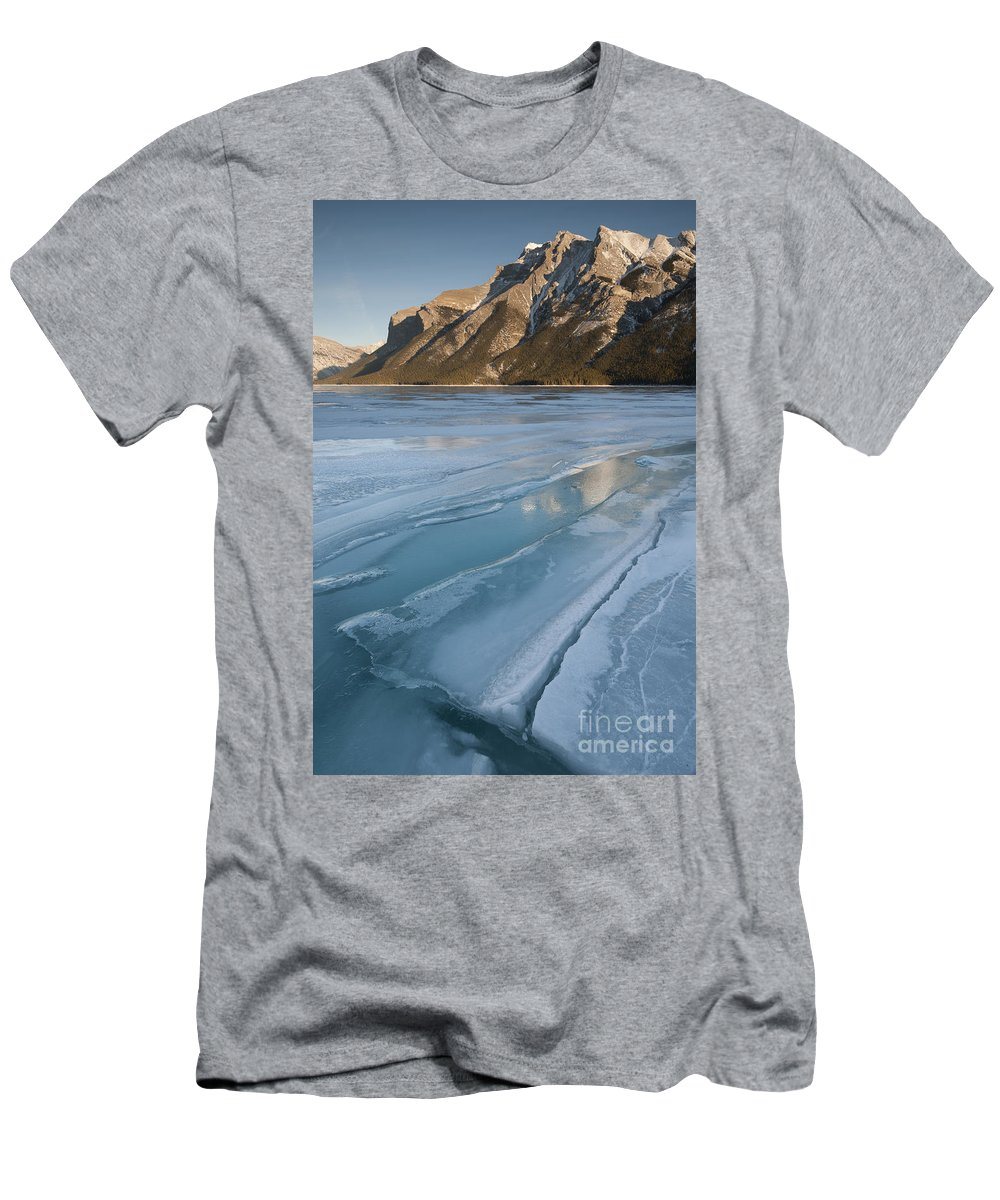 Nature Men's T-Shirt (Athletic Fit) featuring the photograph Mt. Inglismaldie And Ice Formations by John Shaw