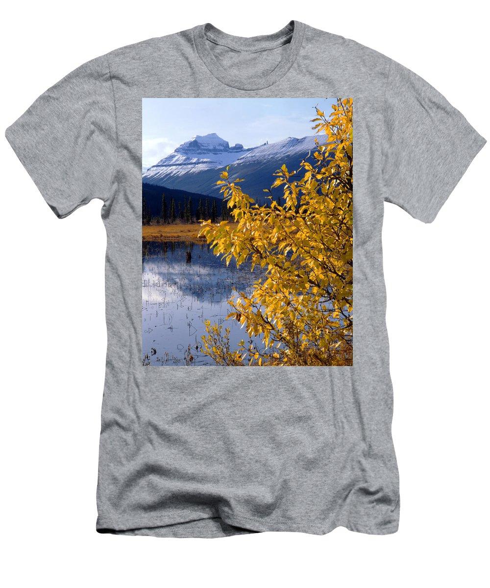 Mt. Saskatchewan Men's T-Shirt (Athletic Fit) featuring the photograph 1m3626-mt. Saskatchewan In Fall by Ed Cooper Photography