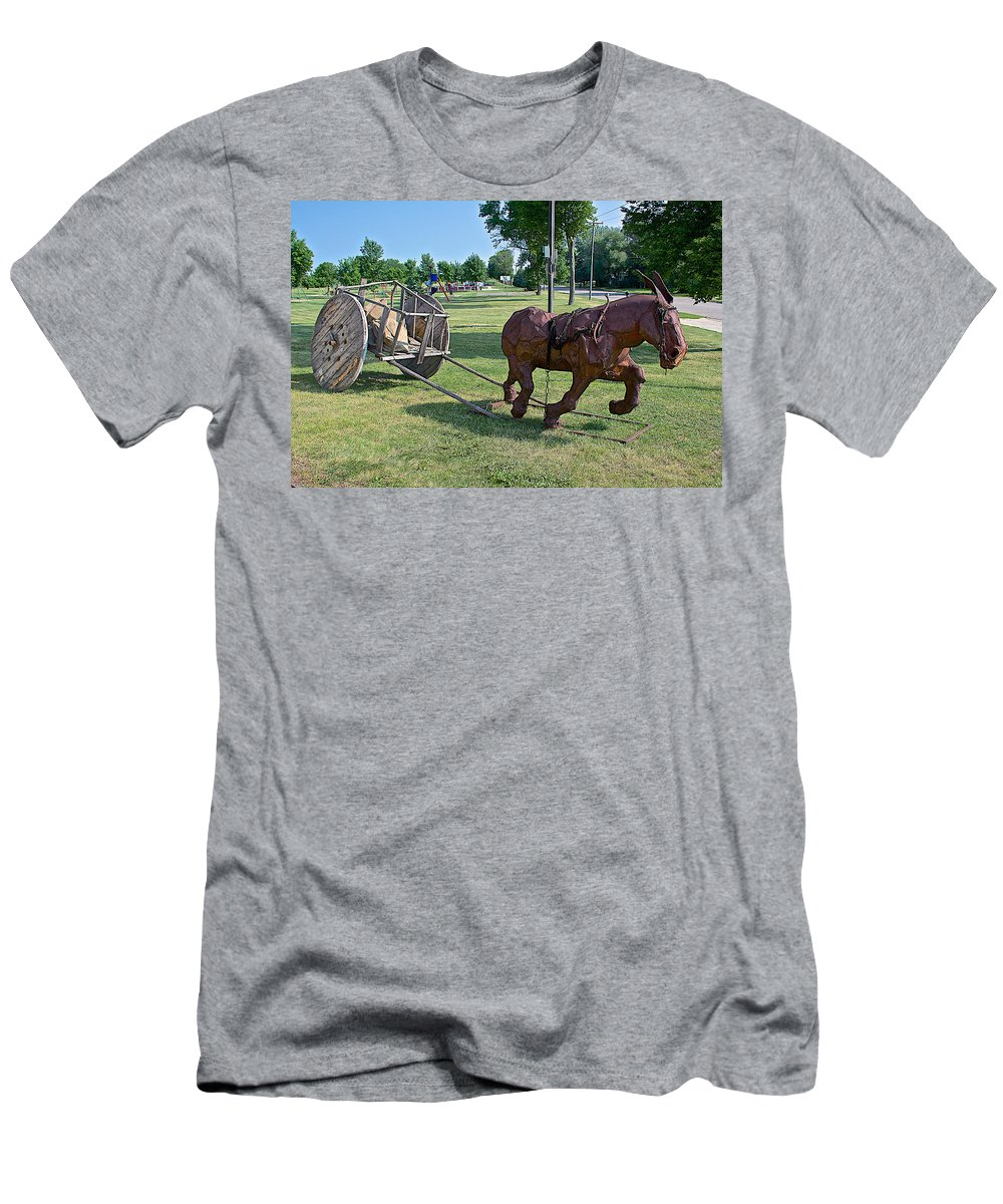 Mule And Wagon Sculpture By Former Rock Island Line Railroad Depot In Pipestone Men's T-Shirt (Athletic Fit) featuring the photograph Mule And Wagon Sculpture In Front Of Former Railroad Depot In Pipestone-minnesota by Ruth Hager
